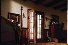 Patio doors, open, view from bedroom