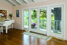 Hinged patio doors, interior view, view of surrounding hillside