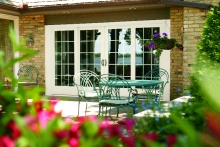 French patio doors, exterior view, view from garden
