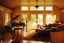 Hinged patio doors, view of lakeside, from living room
