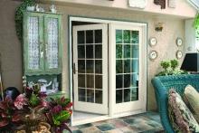 Open patio door, exterior view from enclosed patio