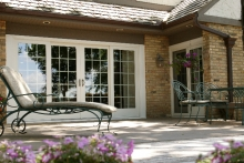 Hinged patio doors, exterior view, from patio area