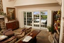 Sliding patio doors, interior view, view of lakeside
