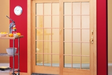 Display featuring sliding patio door