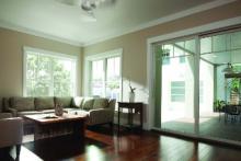 Sliding patio doors featuring Farmhouse grilles, interior view