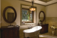 Awning window, interior view, over bathtub