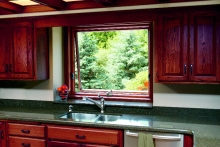 Renewal by Andersen awning window, interior view, over kitchen sink