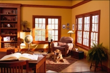 Double-hung windows, stained wood, traditional living room