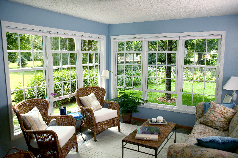 Double Hung Windows, White, Traditional Living Room
